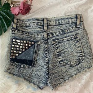 Windsor studded distressed high waisted shorts